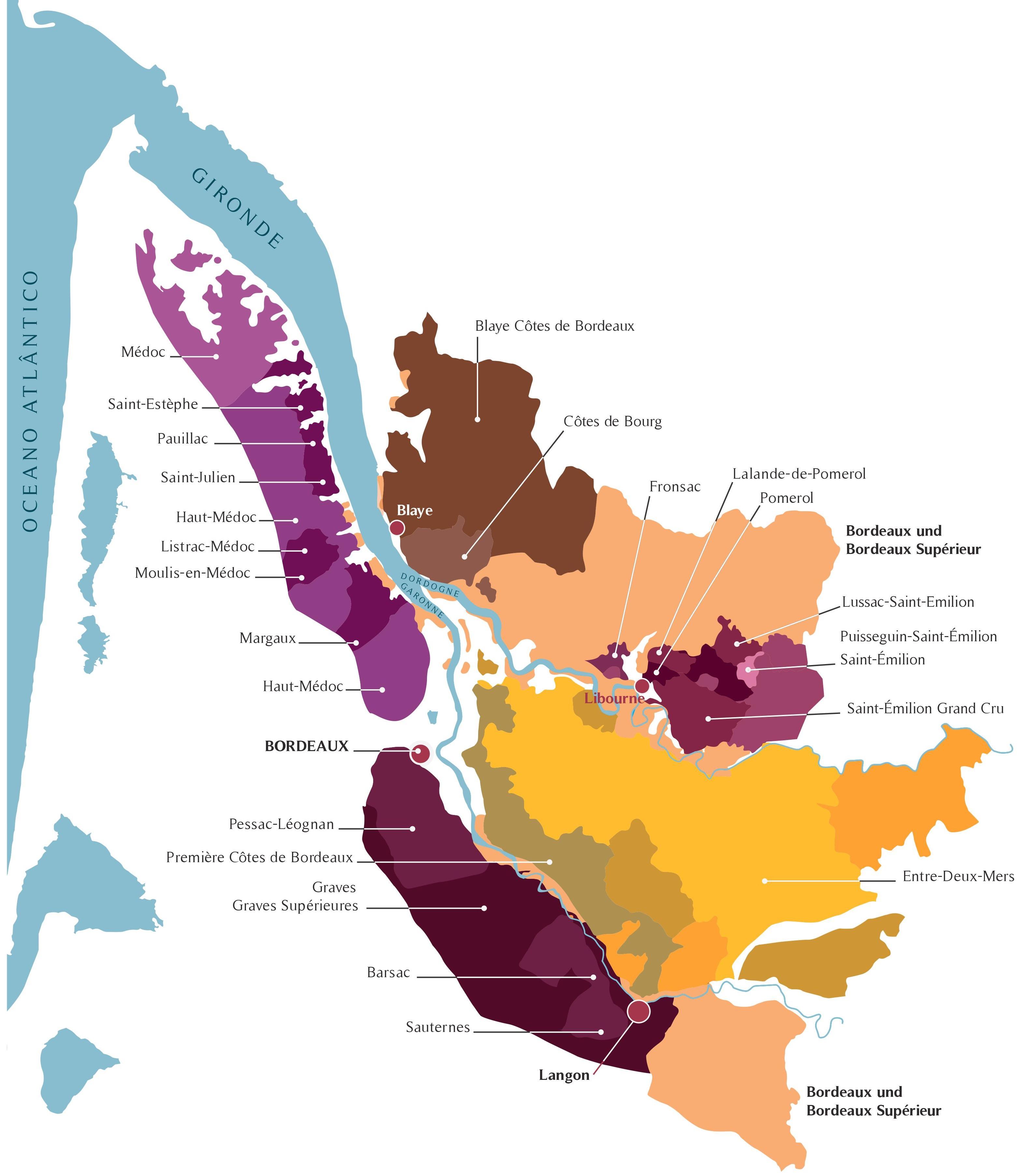 Mapa das principais regiões de Bordeaux.